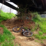 How do you get back if you go west on the south side? Stairs! Under the south end of the rail road bridge.